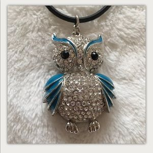Three Inch Rhinestone Enamel Owl On Black Leather